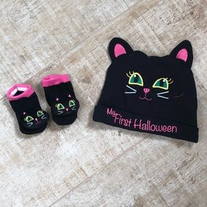 My first Halloween cat hat and socks set